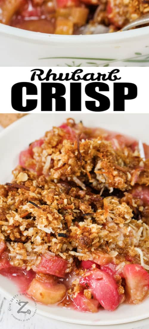 close up of plated Rhubarb Crisp with writing