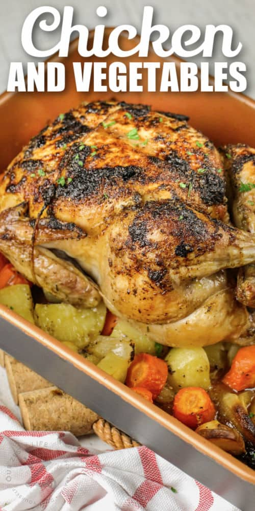 cooked Roast Chicken and Vegetables in a dish with writing