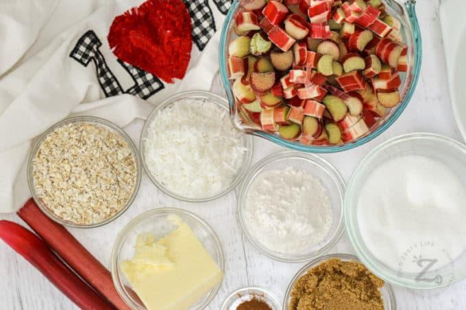 ingredients to make Rhubarb Crisp