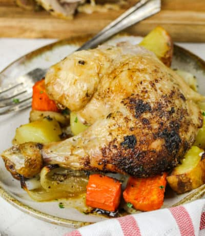 plated Roast Chicken and Vegetables