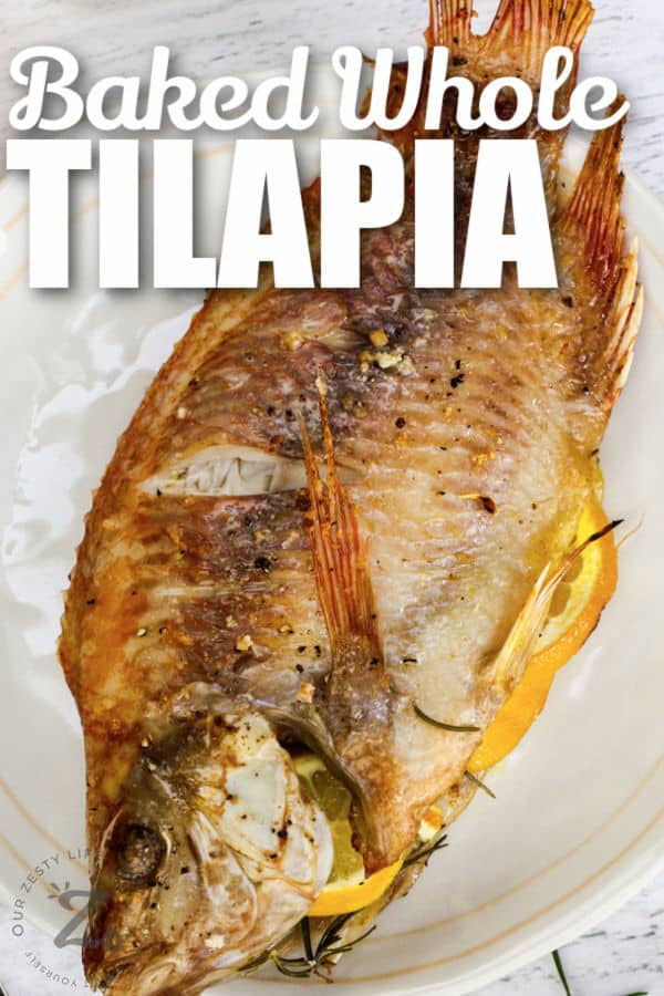 plated Baked Whole Fish with writing