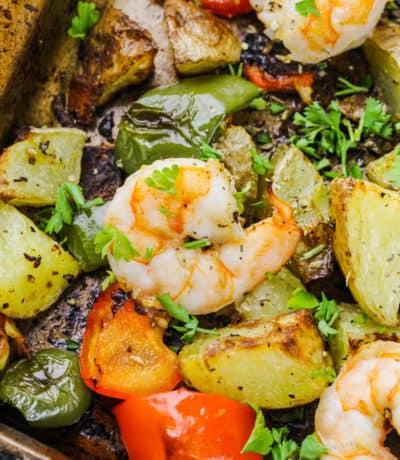 close up of Shrimp Sheet Pan Dinner in the baking sheet