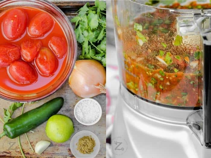 process of blending ingredients to make Restaurant Style Salsa