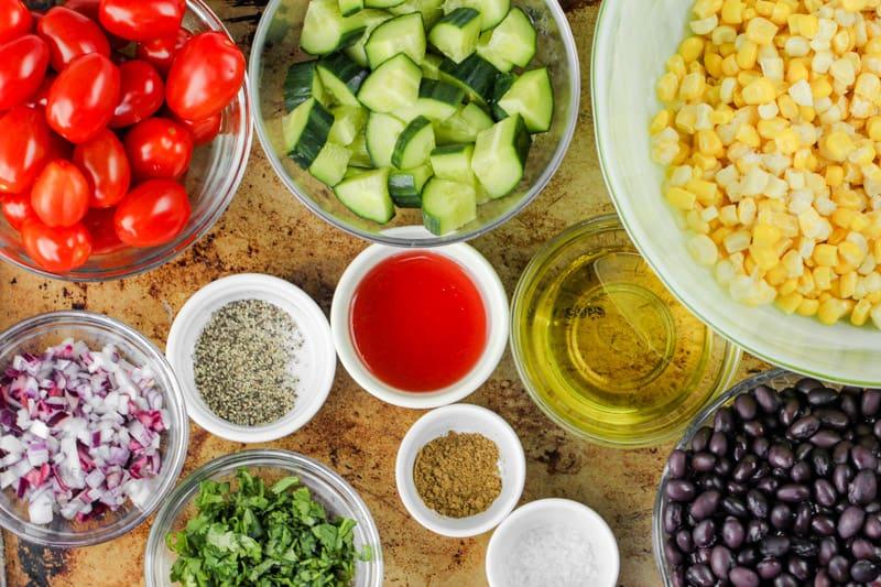 ingredients to make Black Bean Corn Salad