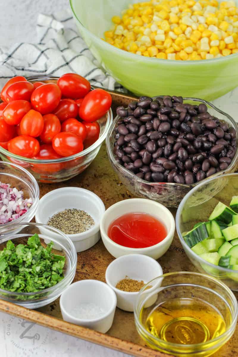 Black Bean Corn Salad ingredients in bowls