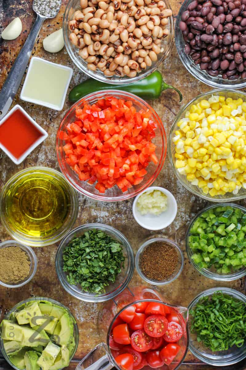 top view of ingredients in bowls to make Cowboy Caviar