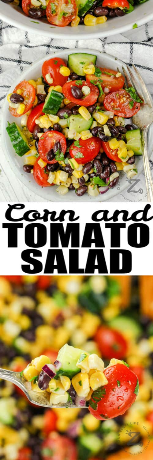 Black Bean Corn Salad plated and on a fork with a title