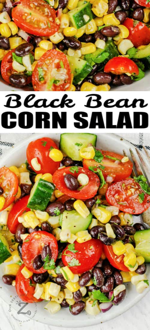 plated Black Bean Corn Salad with a title