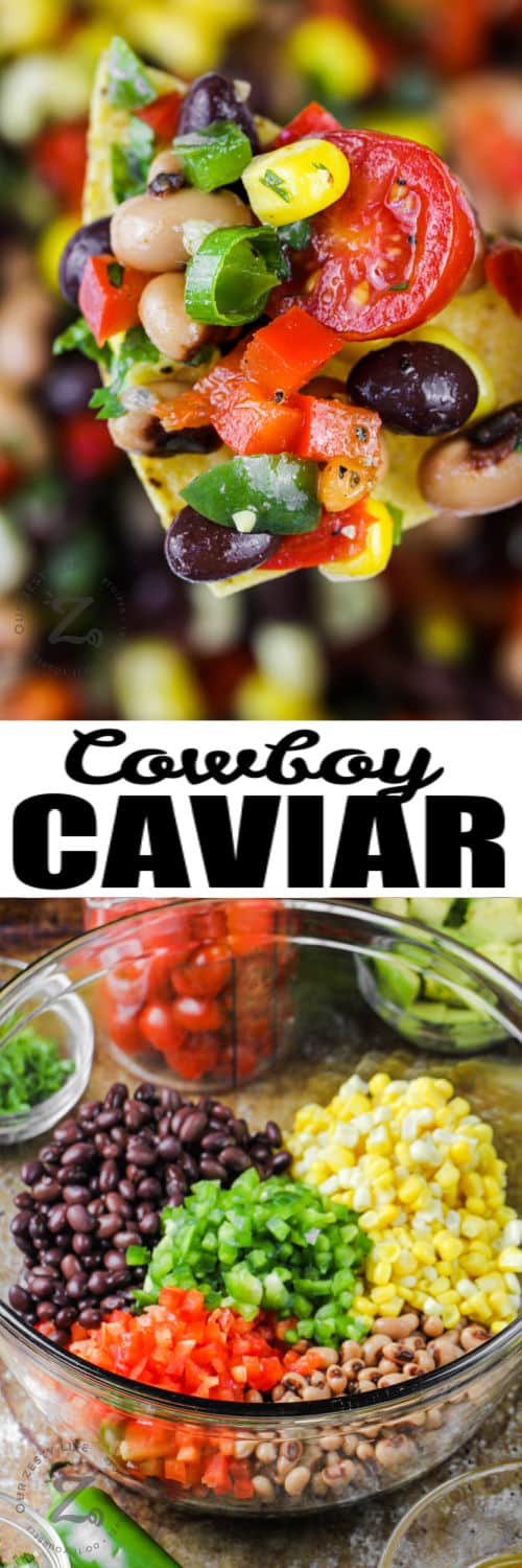 Cowboy Caviar ingredients in a bowl and on a chip with a title