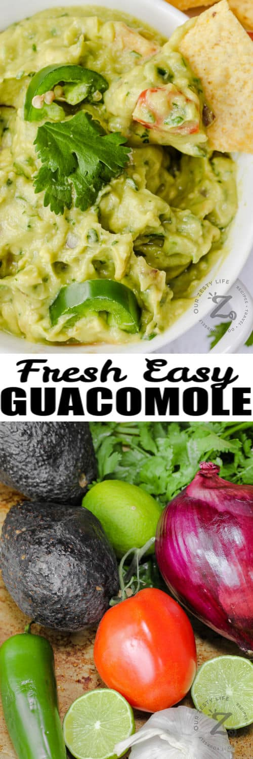 ingredients to make Guacamole with Tomatoes with plated dish and a title