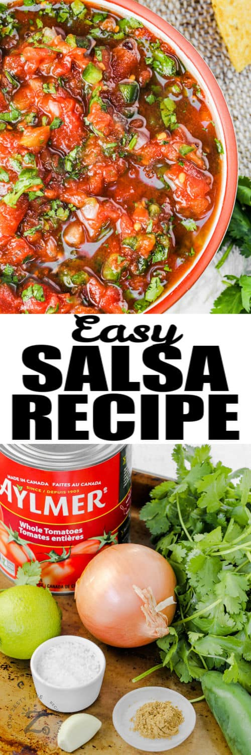 ingredients to make Restaurant Style Salsa with plated dish and a title
