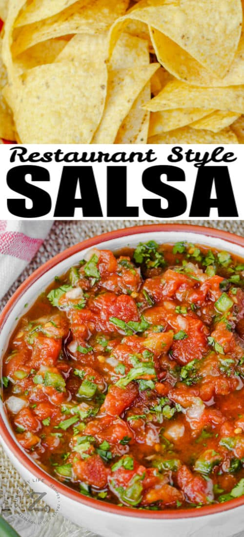 close up of a bowl of Restaurant Style Salsa with chips and a title