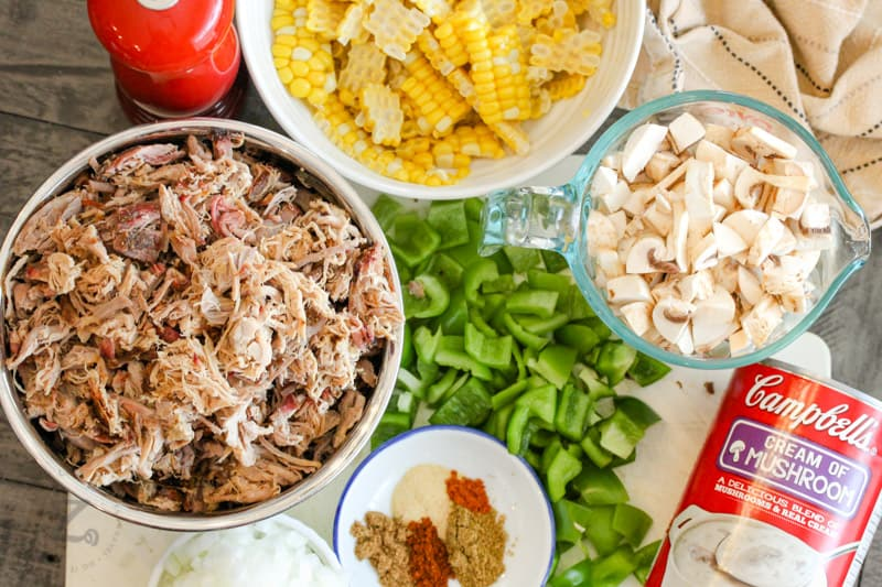 ingredients to make Leftover Pulled Pork Tater Tot Casserole