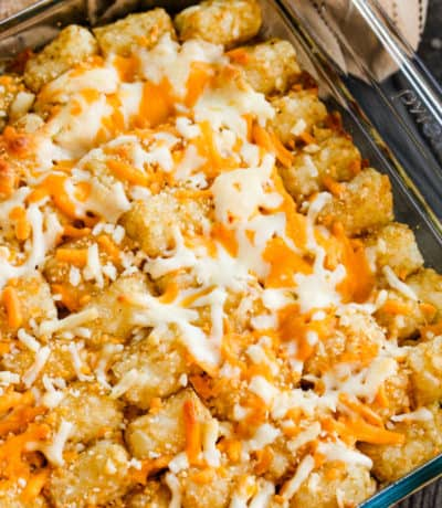 top view of cooked Leftover Pulled Pork Tater Tot Casserole