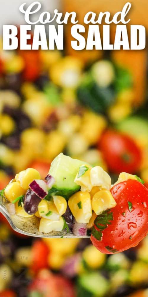 fork full of Black Bean Corn Salad