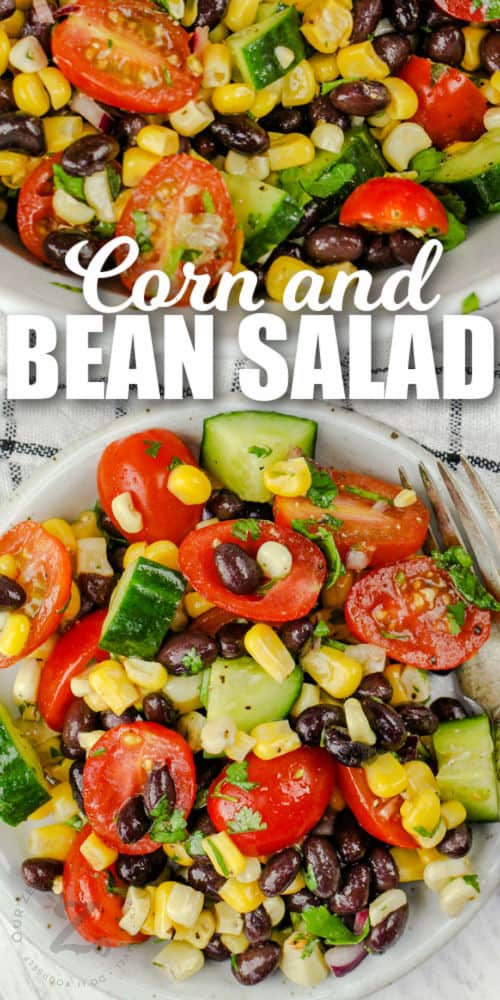 plated Black Bean Corn Salad with writing