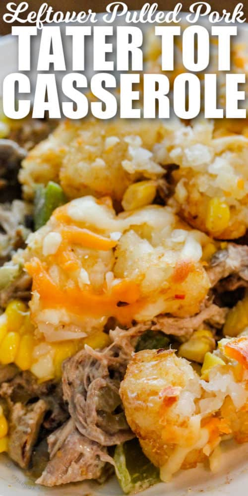 close up of Leftover Pulled Pork Tater Tot Casserole with writing