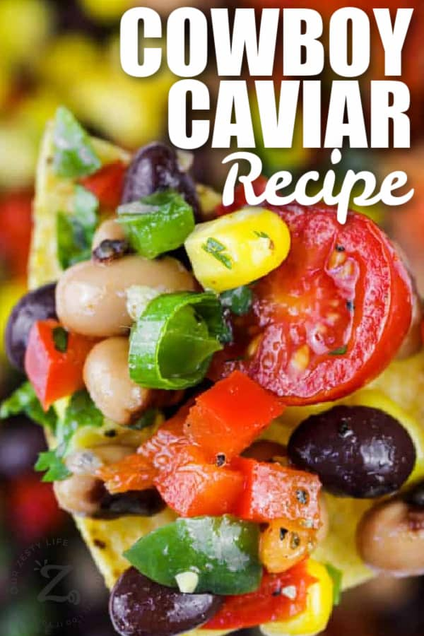 Cowboy Caviar on a chip with writing