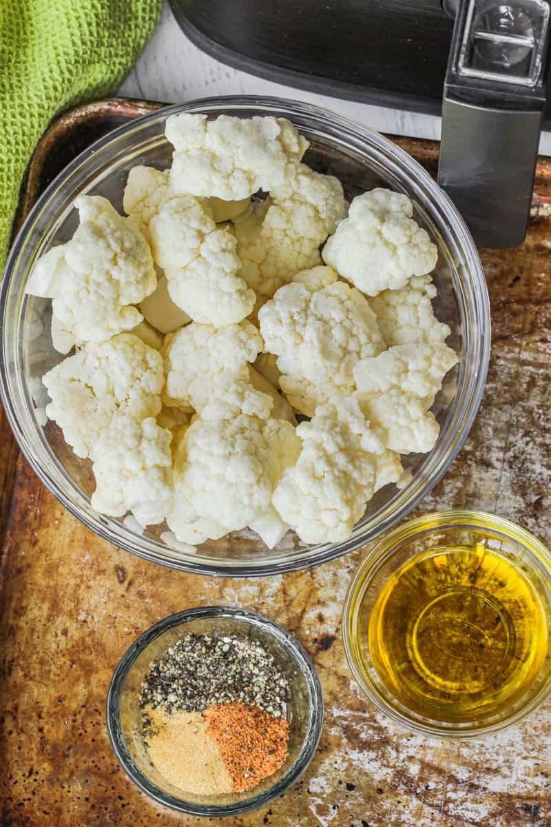 top view of ingredients to make Air Fryer Cauliflower