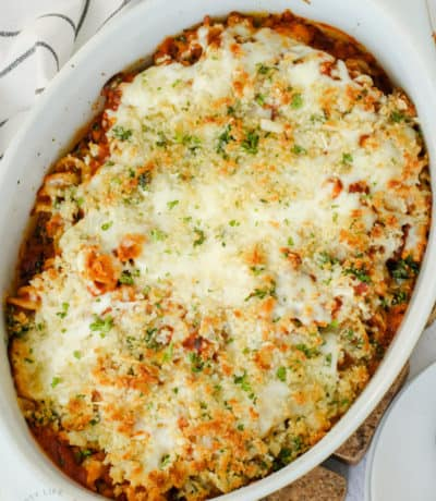 cooked Chicken Parmesan Casserole in the dish