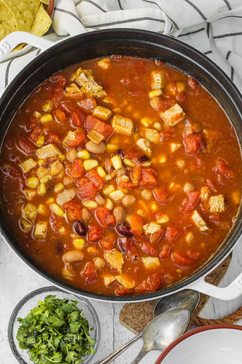 pot full of cooked Chicken Taco Soup
