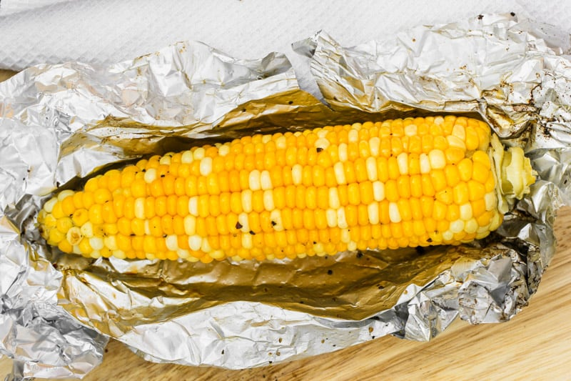 close up of Grilled Corn in Foil