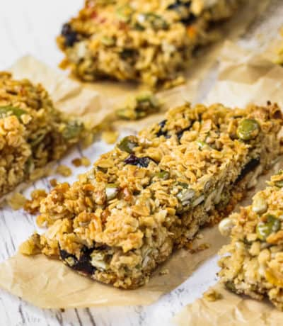Homemade Granola Bars with Seeds on a table