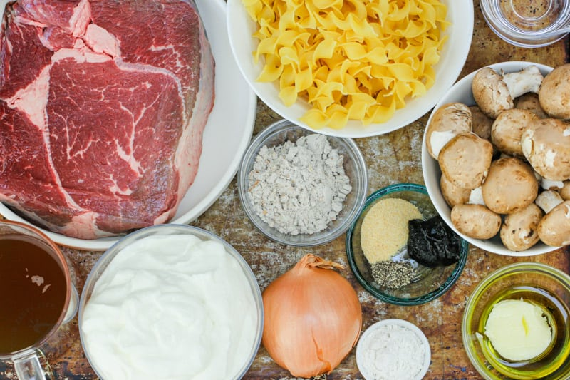 ingredients to make Instant Pot Beef Stroganoff