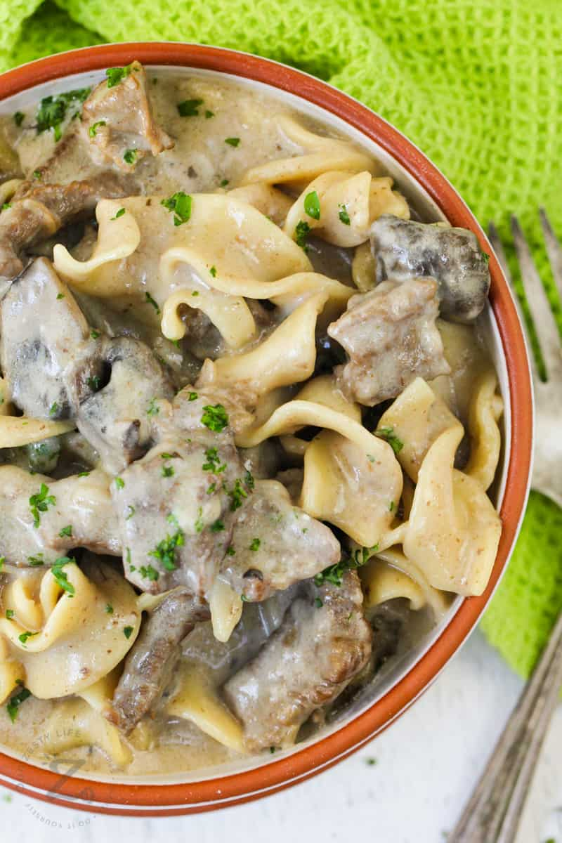 close up of Instant Pot Beef Stroganoff in the bowl
