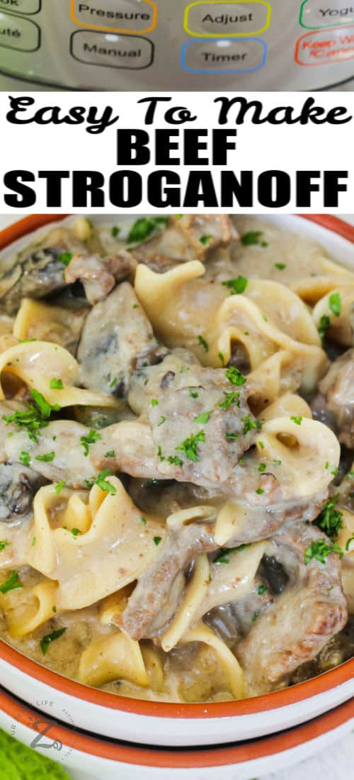 close up of plated Instant Pot Beef Stroganoff with a title