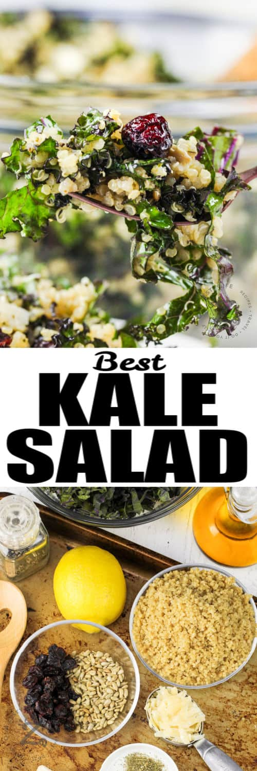 ingredients to make Kale Salad and close up on a fork with a title