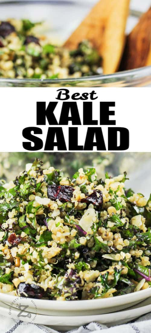Kale Salad on a plate and in a bowl with writing