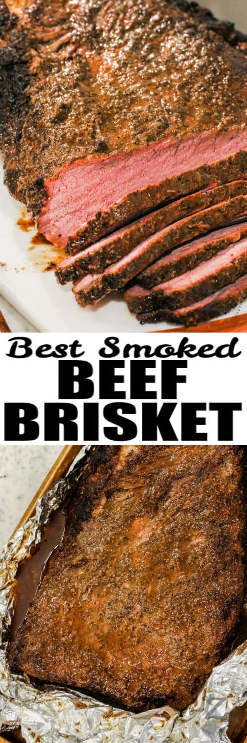 cooked and sliced Smoked Brisket Recipe with a title