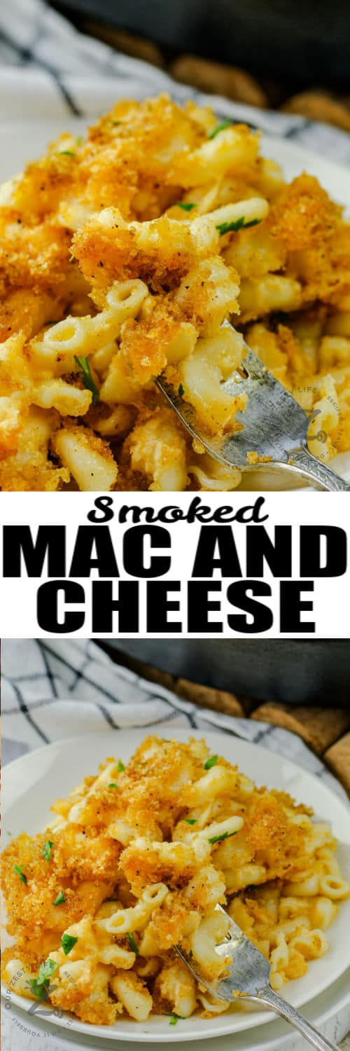 Smoked Macaroni and Cheese on a plate and close up with writing