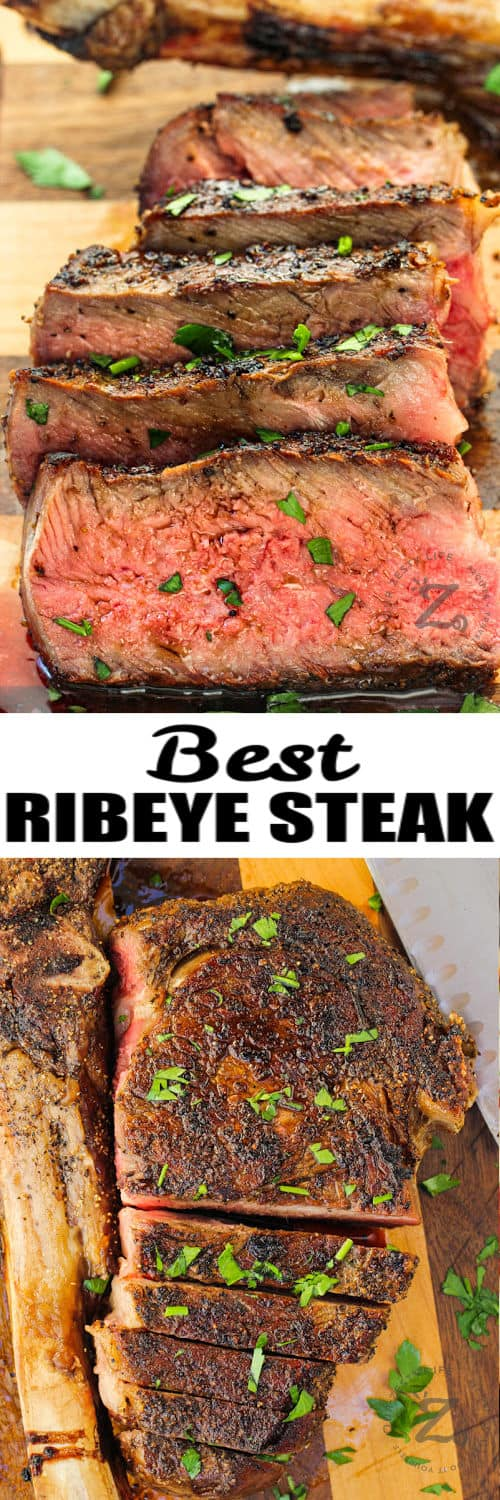 cooked Tomahawk Ribeye Steak cut into slices with a title