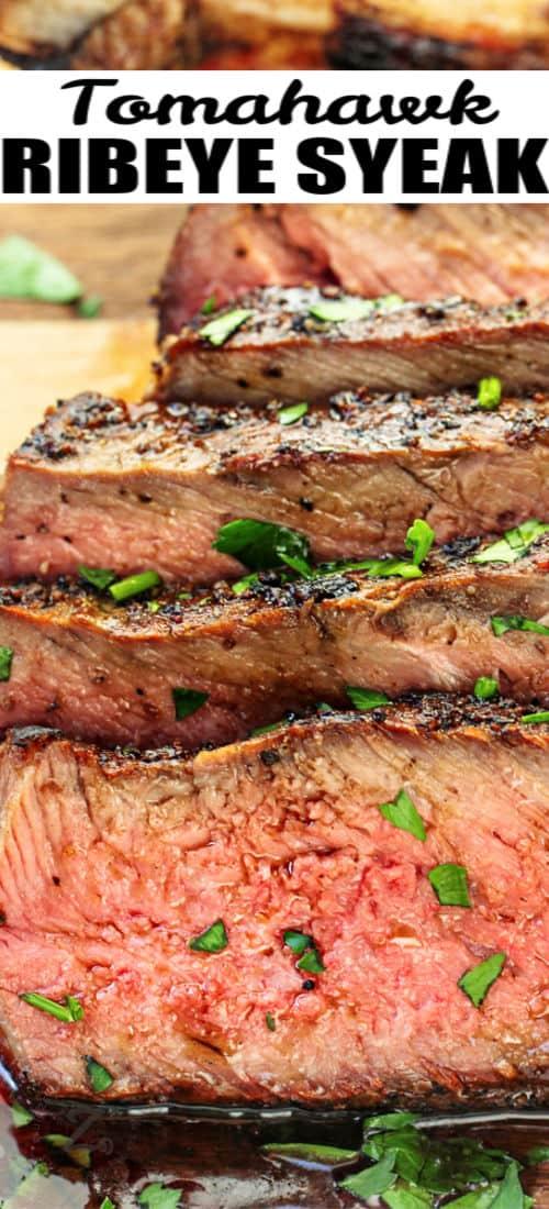 sliced Tomahawk Ribeye Steak with a title