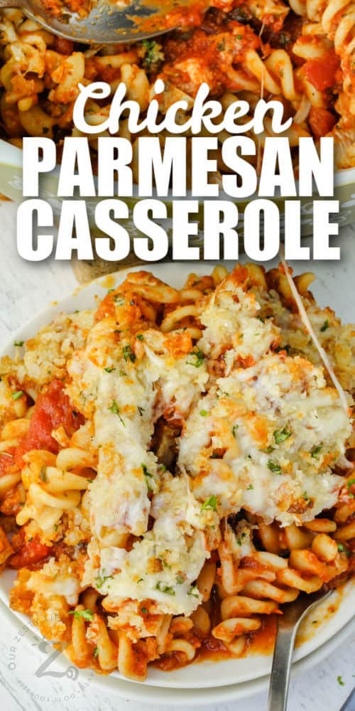 plated Chicken Parmesan Casserole with a title