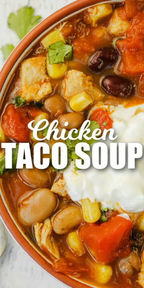 close up of Chicken Taco Soup with a title