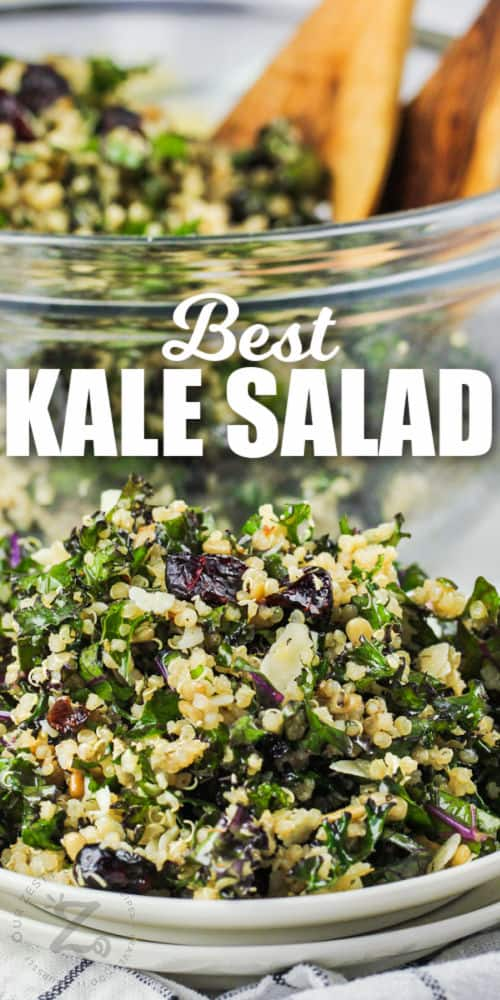 plated Kale Salad with a title