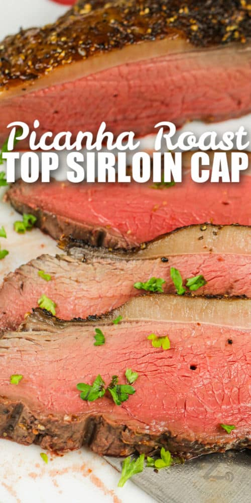 sliced Picanha Roast with a title