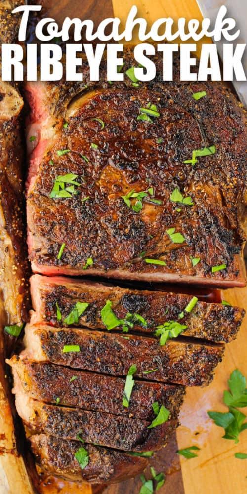 full Tomahawk Ribeye Steak with a title