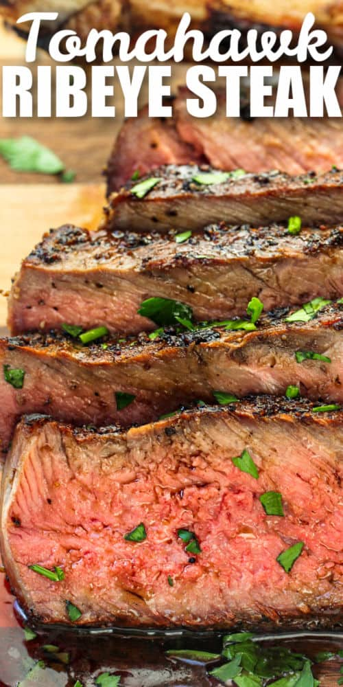 close up of Tomahawk Ribeye Steak with writing