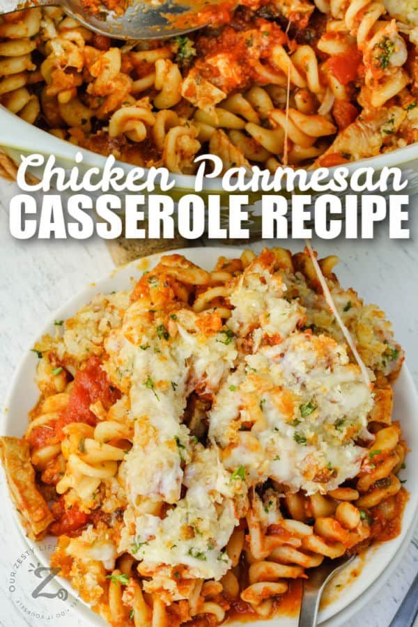 plated Chicken Parmesan Casserole and full bowl in the background with a title