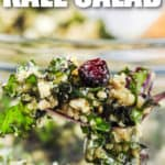 fork full of Kale Salad with writing