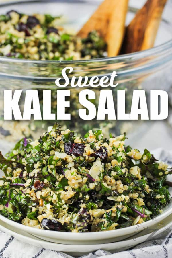 plated Kale Salad with bowl full in the back and spoons with a title