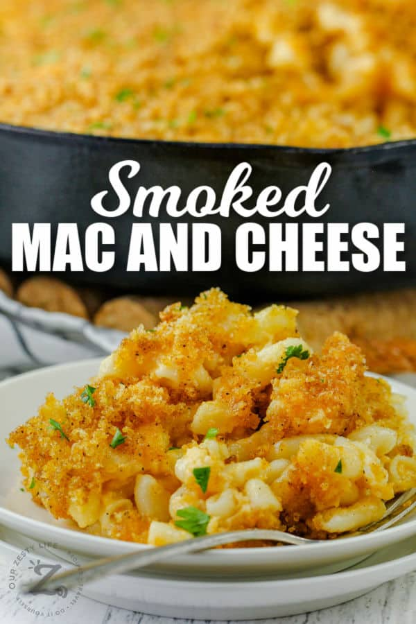 plated Smoked Macaroni and Cheese with a title