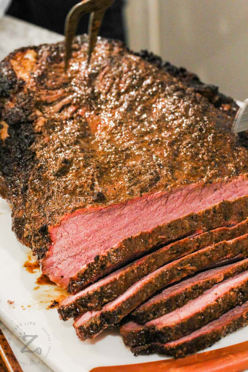 close up of slices of Smoked Beef Brisket