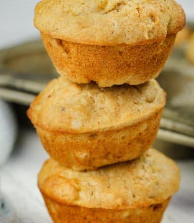 stack of Sourdough Banana Muffins