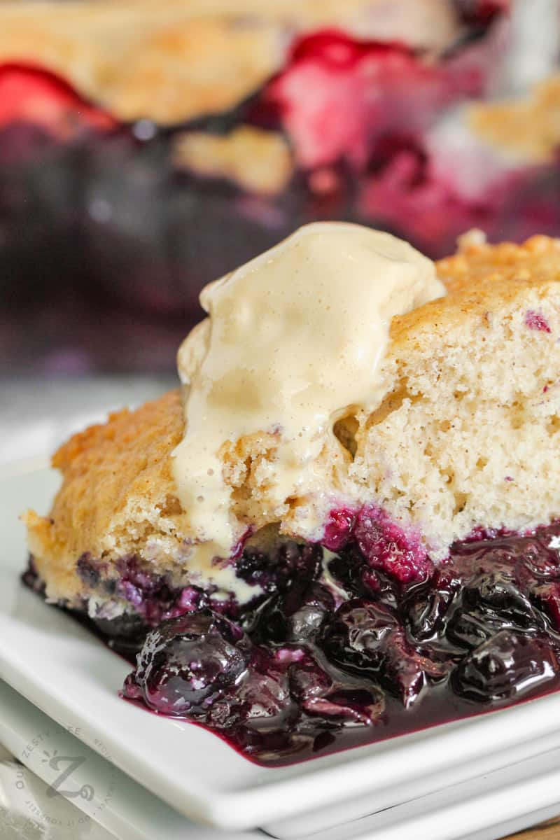 close up of plated Blueberry Cobbler