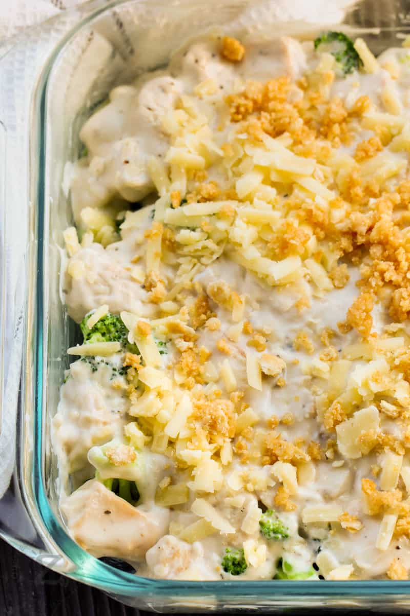 close up of Broccoli Chicken Divan before cooking